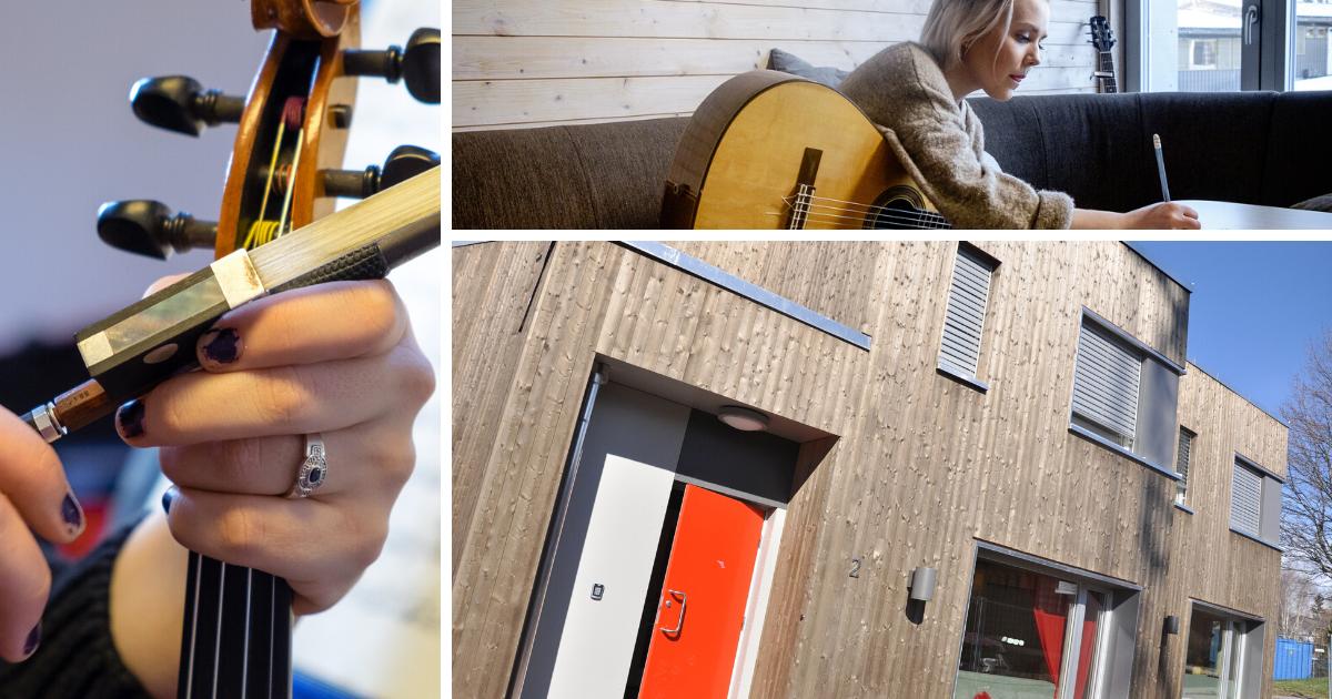 bilde av internat og elever som spiller fiolin og gitar på toneheim folkehøgskole