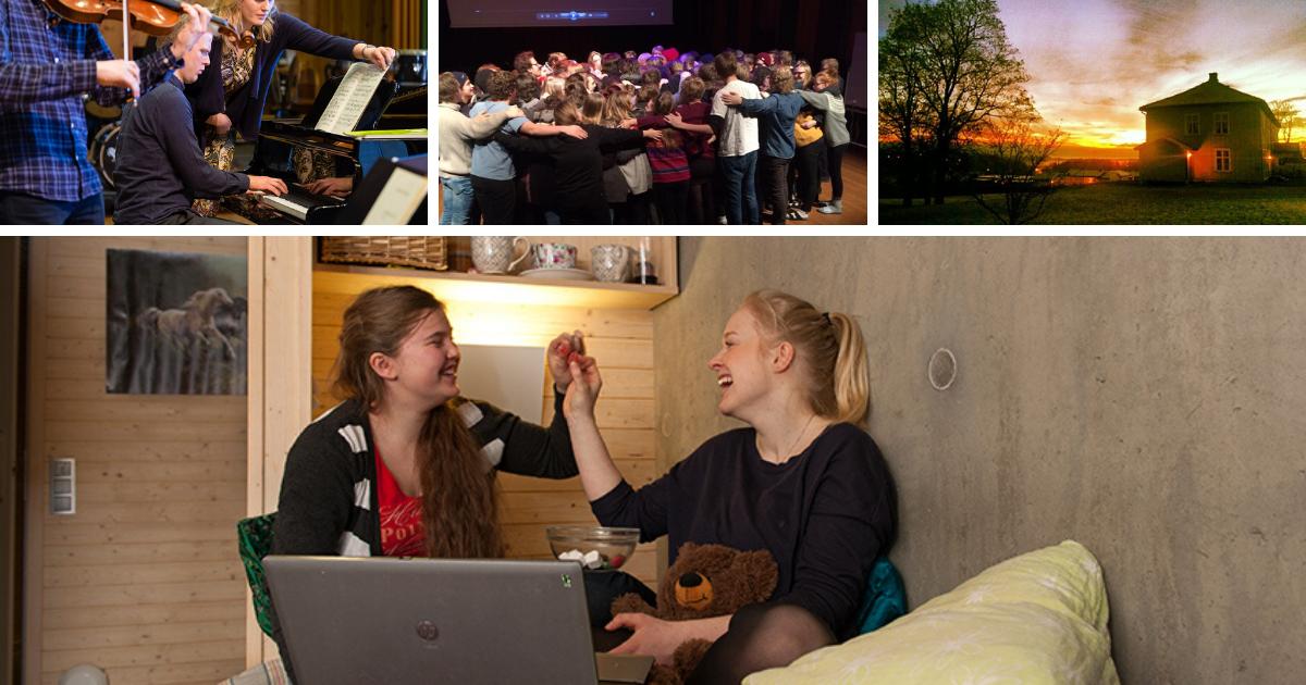 bilde av skolebygge, skolens aula og et dobbeltrom på toneheim folkehøgskole. Bilde viser elever som er glade og som spiller på ulike instrumenter.